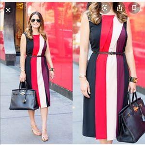Halogen sz 6P colorblock pleated front dress